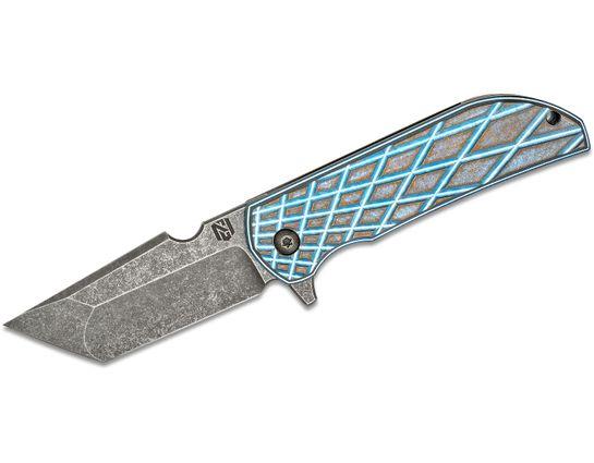 Nick Chuprin/Robert Carter Custom MK1-RC Flipper Knfie 3.125 inch Nitro-V Tanto Blade, Blue/Bronze False Liner Grid Titanium Handles, Zirconium Pivots and Spacer