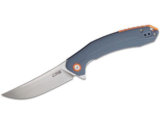 CJRB Cutlery Gobi Flipper Knife 3.39 inch D2 Stonewashed Trailing Point, Gray G10 Handles w/ Orange Backspacer