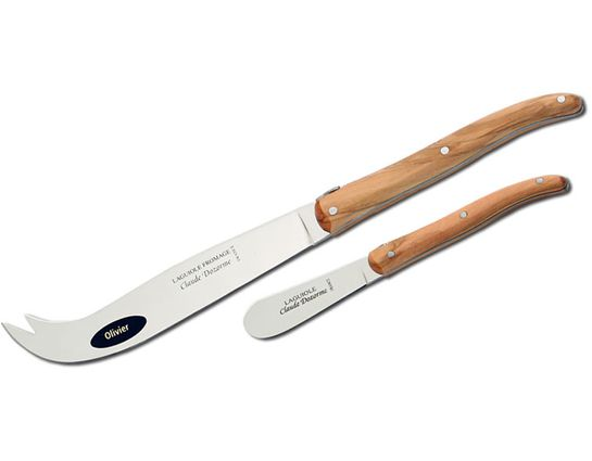 Claude Dozorme Set of Laguiole Cheese and Butter Knives with Bee Olive Wood Handles, Wood Gift Box
