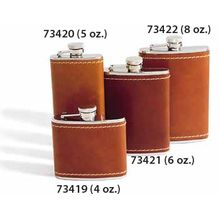 Concord 8 oz. Tan Bison Leather Cover Stainless Steel Flask