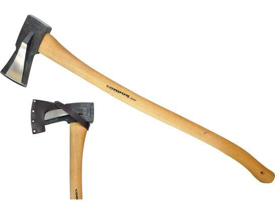 Condor Tool & Knife CTK4030C45 GS Splitting Axe 7-1/2 inch Carbon Steel Head, American Hickory Handle, Leather Sheath