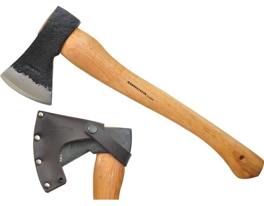 Condor Tool & Knife CTK4070C225 Greenland Axe 6.78 inch Carbon Steel Head, American Hickory Handle, Welted Leather Sheath