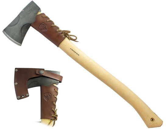 Condor Tool & Knife CTK2803C16 Cloudburst Axe 5.75 inch Carbon Steel Head, American Hickory Handle, Leather Sheath