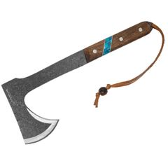 Condor Tool & Knife CTK2826-HC Blue River Tomahawk 5.4 inch 1075 High Carbon Steel Blade, Walnut Wood Handle w/ Reconstituted Turquoise Stone Inlay, Welted Leather Sheath