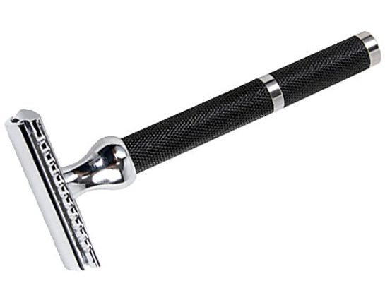 Parker Double Edge Three Piece Safety Razor, 3 inch Long, Black Handle