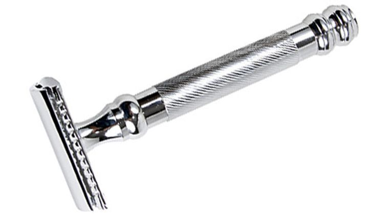 Parker 98R Heavyweight Solid Brass Frame, Nickel Plated Three Piece Safety Razor 4-1/4 inch Overall