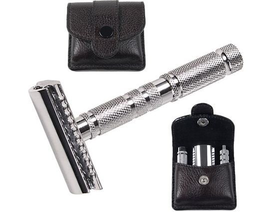 Parker A-1R Chrome Double Edge Travel Safety Razor, 3 inch Handle, Leather Case