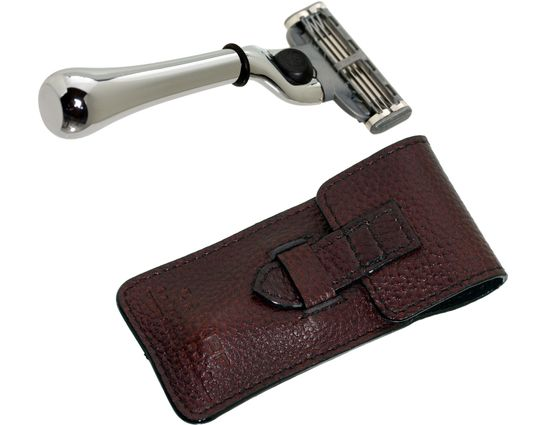 Parker Chrome Travel Mach 3 Safety Razor, 3-5/8 inch Overall, Leather Case