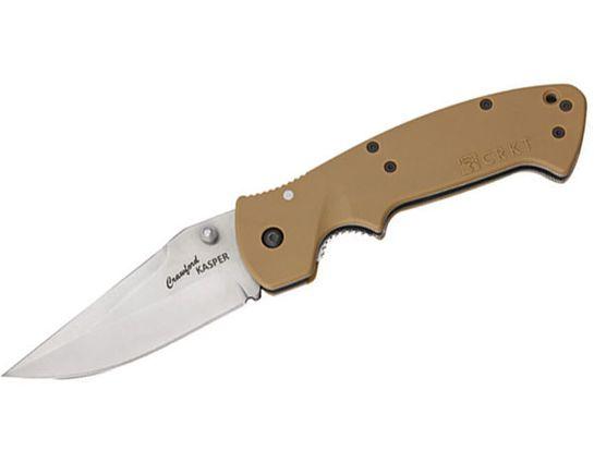 Columbia River CRKT 6773D Crawford Kasper Folding Knife 3-3/4 inch Plain Satin Blade, Desert Tan Zytel Handles
