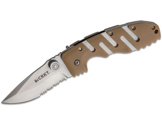 Columbia River CRKT Ryan Model Seven Folding Knife 3.43 inch Satin Combo Blade, Tan Zytel Handles