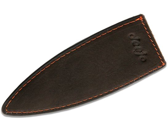 Deejo Knives 27g Knife Sheath, Black Leather with Orange Stitching