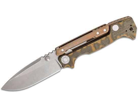 Andrew Demko Custom AD15 MG Folding Knife 3.75 inch CPM-20CV Machine Ground Blade, Textured Camo Micarta and Bronze Titanium Handles