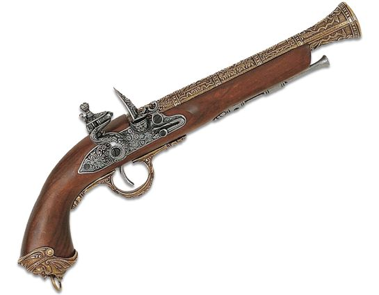 Denix Replica 18th Century Italian Pirate Flintlock Pistol, Brass