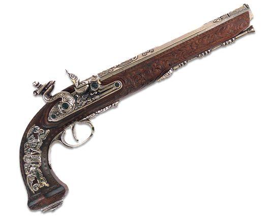 Denix Replica 1810 Gentleman's Flintlock Dueling Pistol, Nickel