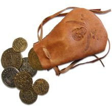 Denix Leather Pouch with Replica Pieces of Eight