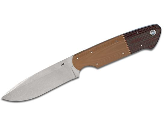 JD van Deventer Custom JDLOV Fixed 4 inch N690 Stonewashed Blade, Coyote G10 and Red Carbon Fiber Handles, Leather Sheath