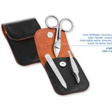 DOVO 1041 056 3-Piece Manicure Set, Cuticle Scissors, File, Tweezers, Black Leather Pouch