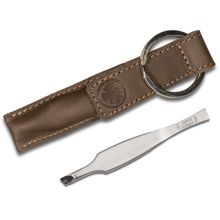 DOVO 1055 056 Keychain Slant Tip Stainless Tweezer Set, Matte Finish, Leather Sheath