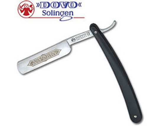 DOVO Straight Razor 5/8 inch Half Hollow Ground Blade, Black Synthetic Handles