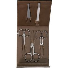 DOVO 5-Piece Manicure Set with 3 Nail Scissors in Brown Leather Case