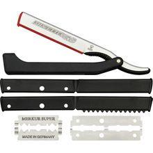 DOVO Shavette Replaceable Blade Straight Razor, Black Zytel Handle (201081)