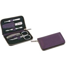 DOVO 5-Piece Manicure Set in Violet Cowhide Leather Zipper Case