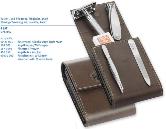 Merkur 23C Safety Razor Shaving/Grooming Set, Extra Pack of Blades, Nail Clipper, Tweezer, File, Leather Pouch
