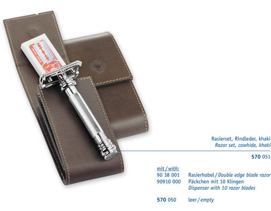 Merkur 38C Long Handle Safety Razor Set, Extra Pack of Blades, Leather Pouch