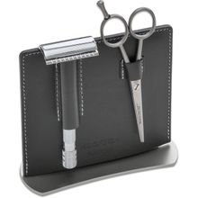 DOVO 2 Piece Manicure Set, Black Leather Stand