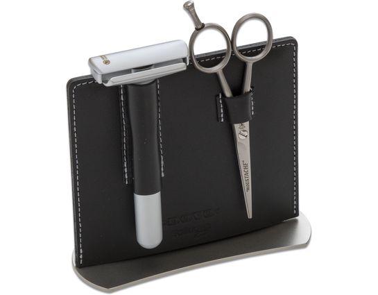 DOVO 2 Piece Manicure Set, Black Leather Stand