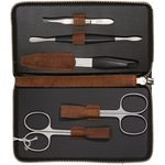 DOVO 5-Piece Manicure Set in Brown Leather Case