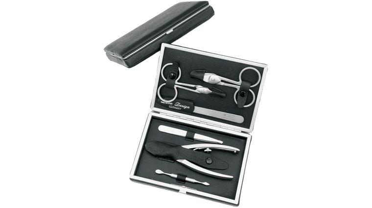 DOVO 6 Piece Manicure Set in Black Leather Case