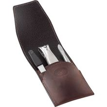 DOVO 3-Piece Manicure Set in Brown Leather Case