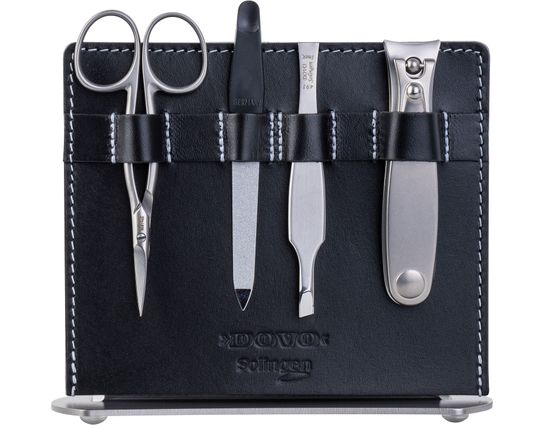 DOVO 4-Piece Manicure Set, Black Leather Stand