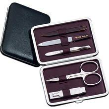DOVO 5-Piece Manicure Set in Black Leather Case