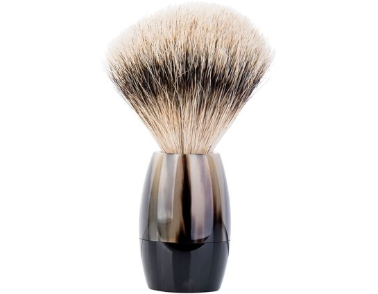 Merkur Silvertip Shave Brush, Polished Black Cattle Horn Handle