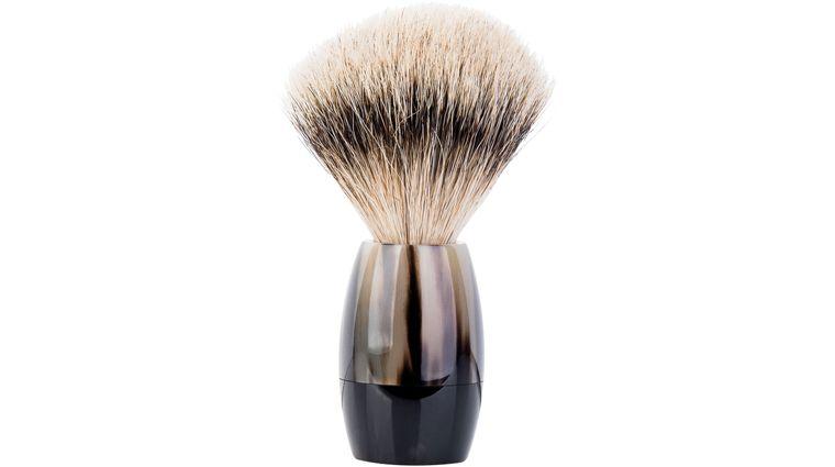 Merkur Silvertip Shave Brush, Polished Black Cattle Horn Handle