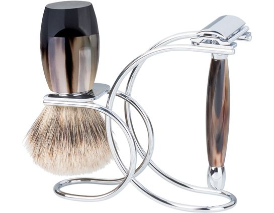 Merkur 3 Piece Polished Horn Handle Razor Shave Set, Safety Razor, Silvertip Shaving Brush and Stand