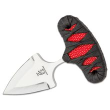 Sam Eddleman Custom Push Dagger Fixed 2 inch N690 Mirror Polished Double Edge Blade, Red Rayskin/Black Flat Cord Wrapped Handles, Kydex Sheath
