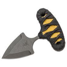 Sam Eddleman Custom Push Dagger Fixed 2 inch N690 Double Edge Blade, Yellow Rayskin/Black Flat Cord Wrapped Handles, Kydex Sheath