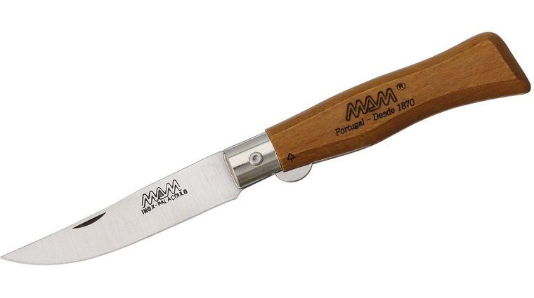 MAM Filmam 2005B Duoro Liner Lock Folding Knife 2.75 inch Straight Back Blade, Beech Wood Handle
