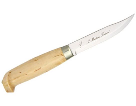 Marttiini Lynx 131 Hunting Knife Fixed 4-1/4 inch Blade, Curly Birch Wood Handle