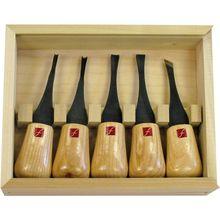 Flexcut 5-Piece Beginners Palm Set, 5 Different Style Blades, Ash Wood Handles, Storage Box