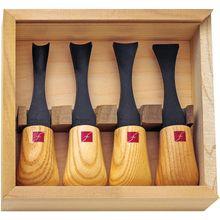 Flexcut 4-Piece Super-Wide-Format Palm Set, 4 Different Style Blades, Ash Wood Handles, Storage Box