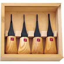 Flexcut 4-Piece Mini-Palm Set, 4 Different Style Blades, Ash Wood Handles, Storage Box