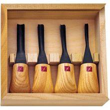 Flexcut 4-Piece Thumbnail Ground Set, 4 Different Style Blades, Ash Wood Handles, Storage Box