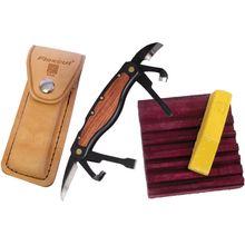 Flexcut Carvin' Jack Knife 6 Different Style Blades, Black Aluminum Handle w/ Wood Inlays, Leather Sheath
