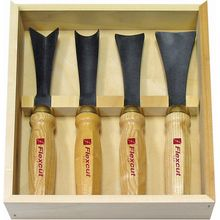 Flexcut 4-Piece Mallet Sculptor's Set, 4 Different Style Blades, Ash Wood Handles, Storage Box
