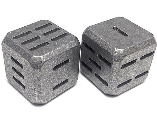 Flytanium Slotted Large Cuboid Titanium Dice, 2-Pack, Stonewashed