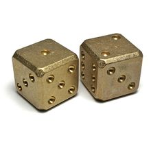 Flytanium Large Cuboid Brass Dice, 2-Pack